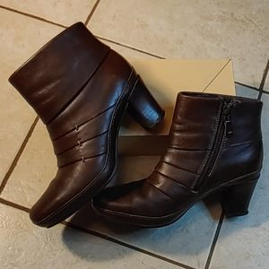 Clarks Artisan Pleated Chocolate Leather Booties